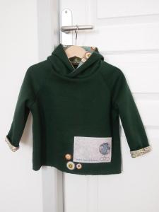 molleton vert sapin (De Fil en Etoile) - Ourlet rapporté biais Liberty Adelajda multicolore (Minibouille)